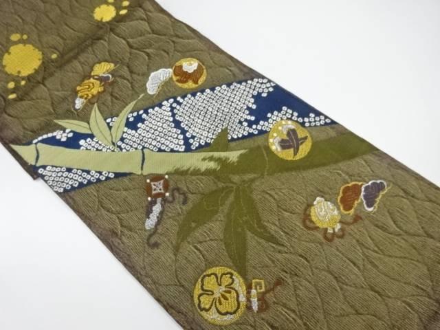 竹笹に宝尽くし模様織出し袋帯【リサイクル】【中古】