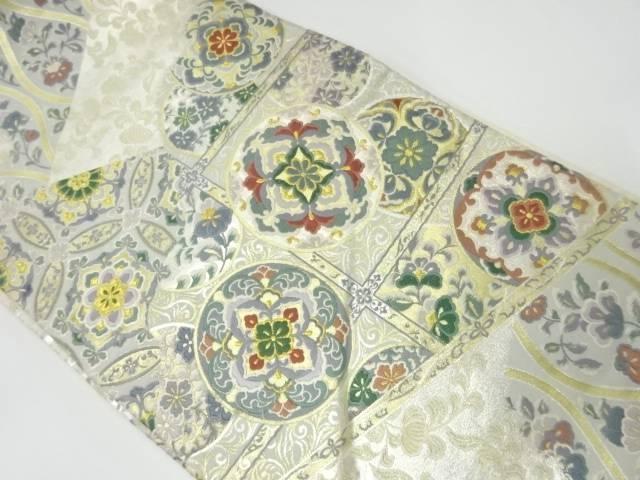 格天井に華紋模様織出し袋帯【リサイクル】【中古】