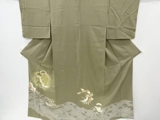 箔置き松竹梅に鶴亀模様刺繍一つ紋色留袖【リサイクル】【中古】
