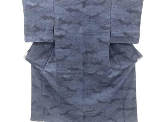 雲取りに亀甲模様織り出し本場結城紬80亀甲着物(石下)【リサイクル】【中古】