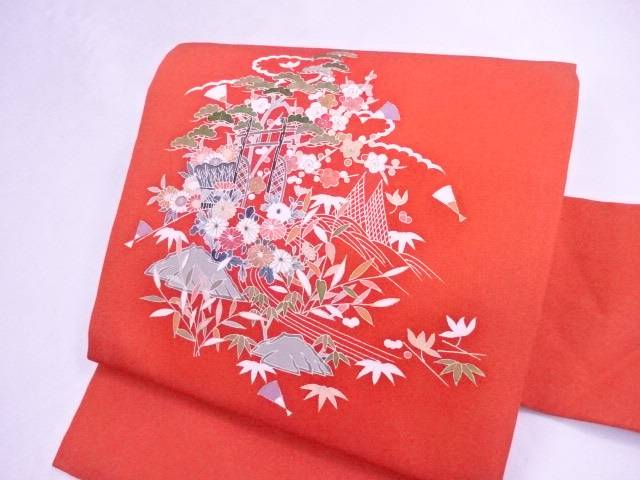 九寸名古屋帯 刺繍 塩瀬 水辺に古典草花文【リサイクル】【中古】