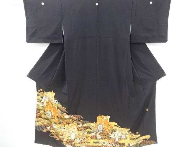 作家物 金彩 ヱ霞に御所車模様刺繍留袖(比翼付き)【リサイクル】【中古】