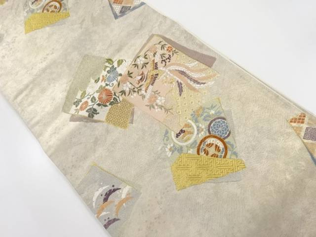 金糸 色紙に花鳥模様織り出し袋帯【リサイクル】【中古】