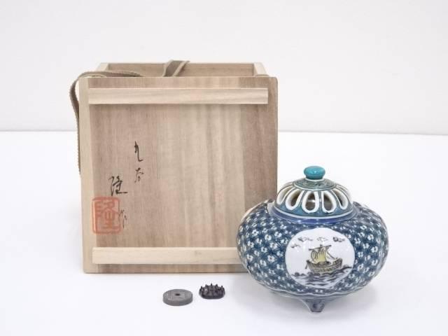 九谷焼 北村隆造 色絵船文香炉