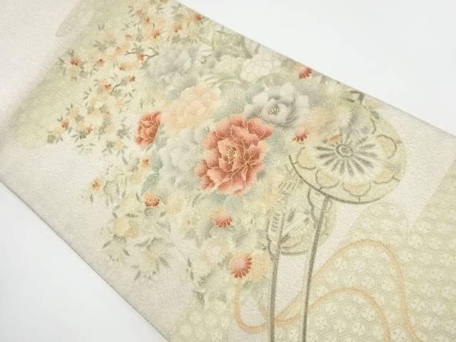 砂子綴れ花車模様袋帯【リサイクル】【中古】