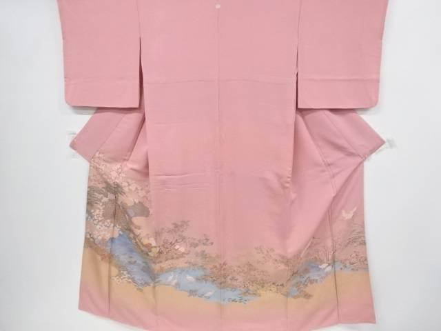 寿光織草花に孔雀・鷺模様織り出し一つ紋色留袖【リサイクル】【中古】
