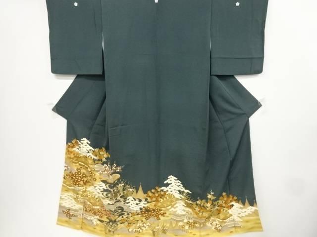 金彩茶屋辻模様刺繍三つ紋色留袖【リサイクル】【中古】