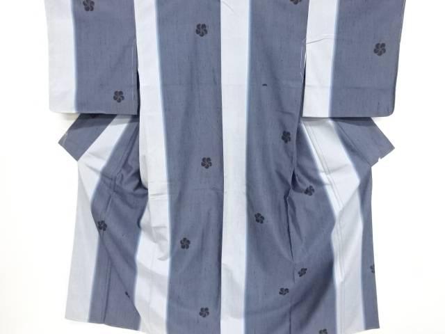 未使用品 仕立て上がり 縞にねじり梅模様織り出し手織り縦節紬着物
