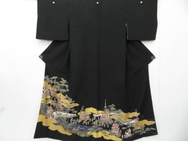 黒留袖 金駒刺繍 祇園祭風景文 着物【リサイクル】【中古】