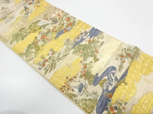 雲取りに花鳥模様織出し袋帯【リサイクル】【中古】