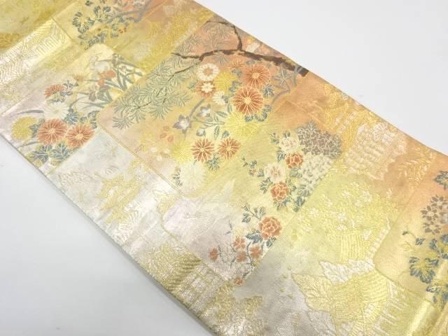 色紙に寺院・草花模様織出し袋帯【リサイクル】【中古】