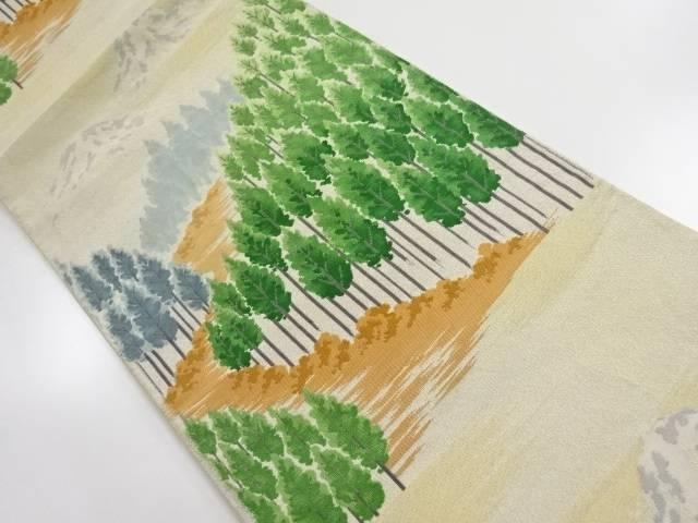 銀糸遠山に杉林模様織出し袋帯【リサイクル】【中古】