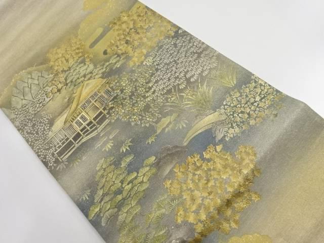 箔置遠山に茶室風景模様袋帯【リサイクル】【中古】