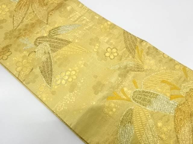 梅笹模様織出し袋帯【リサイクル】【中古】