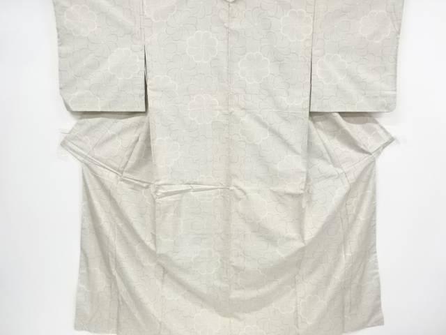 ねじり花模様織り出し本場白大島紬着物(7マルキ)【リサイクル】【中古】