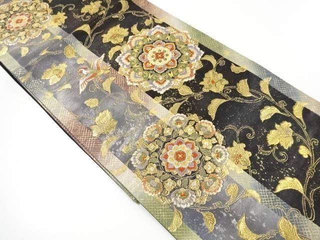 引箔 花喰い鳥に華紋更紗模様織り出し袋帯【リサイクル】【中古】