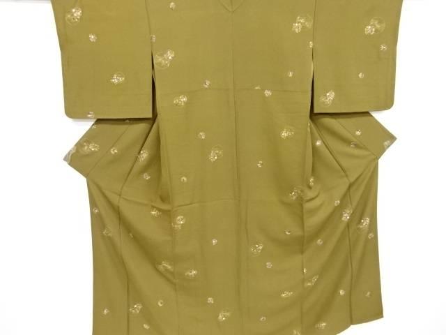 汕頭蘇州刺繍雪輪に花丸紋様小紋着物【リサイクル】【中古】