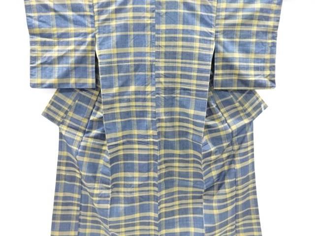 格子織り出し手織り真綿紬着物【リサイクル】【中古】