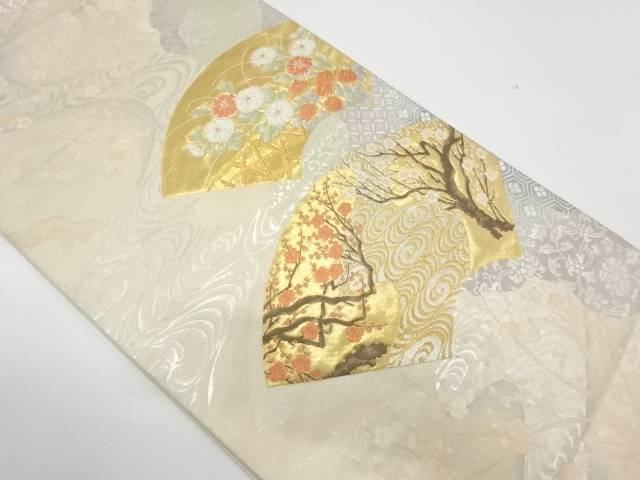 地紙に流水・草花模様織出し袋帯【リサイクル】【中古】