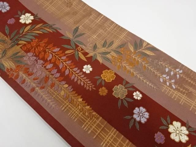 桜に鈴蘭模様織出し袋帯【リサイクル】【中古】