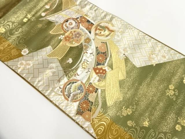 几帳に鳳凰・草花模様織出し袋帯【リサイクル】【中古】