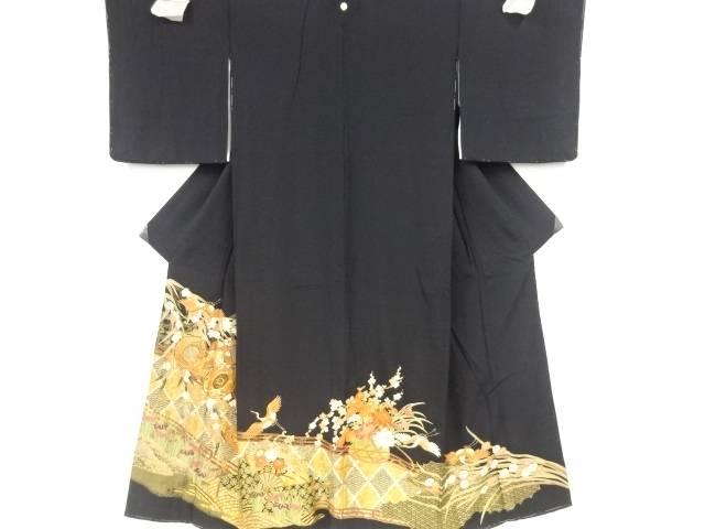 金彩鼓に梅・鶴模様刺繍留袖(比翼付き)【リサイクル】【中古】