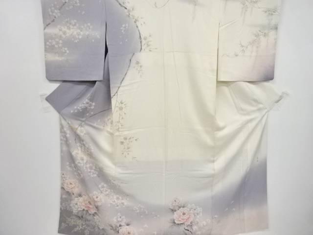 作家物 手描き牡丹に枝桜模様訪問着【リサイクル】【中古】