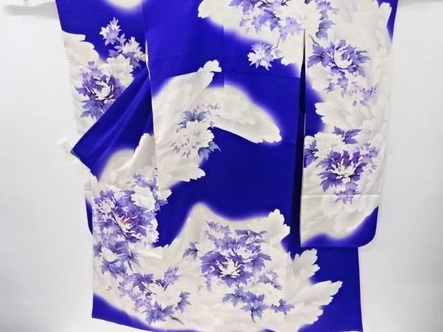 牡丹模様刺繍振袖(重ね衿付き)【リサイクル】【中古】