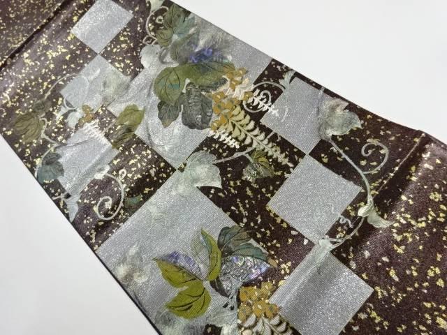 作家物 引箔螺鈿蔦の葉模様袋帯【リサイクル】【中古】