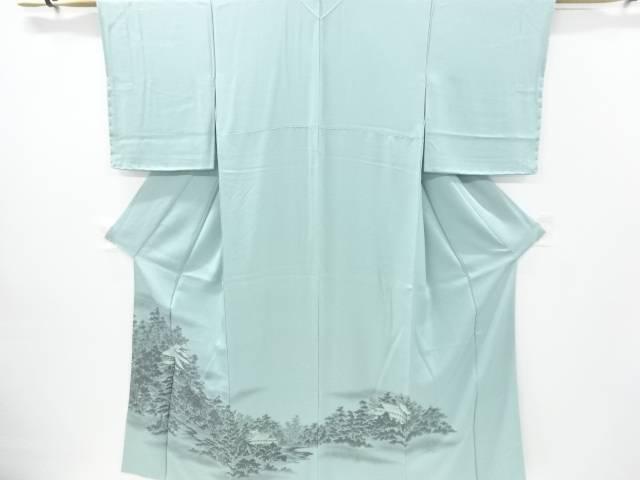 寺院に樹木模様織り出し色留袖【リサイクル】【中古】