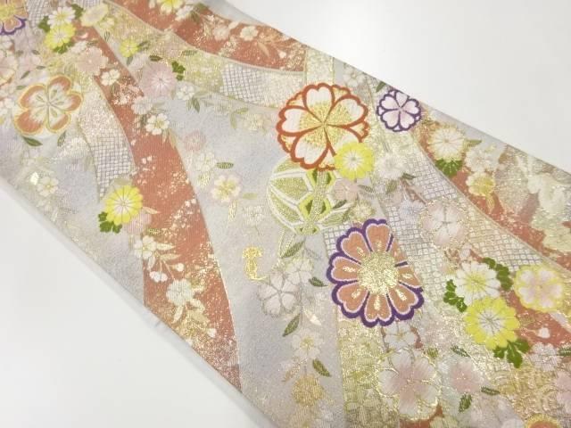 未使用品 几帳に梅・菊・毬模様織り出し袋帯【リサイクル】【中古】