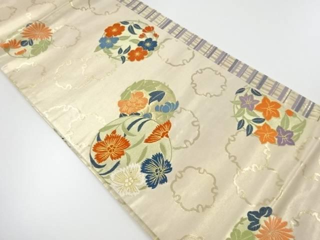 本金花丸紋に雪輪模様織出し袋帯【リサイクル】【中古】