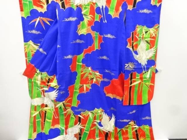 竹笹に鶴模様刺繍花嫁衣装掛下【リサイクル】【中古】