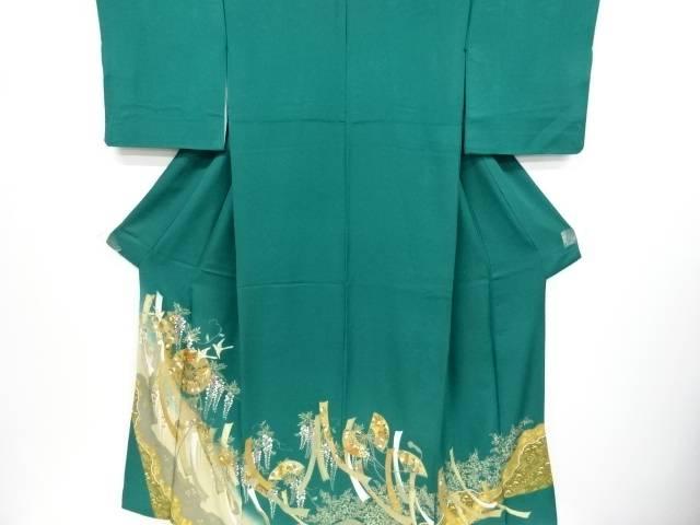 金彩扇に花鳥模様三つ紋色留袖(比翼付き)【リサイクル】【中古】