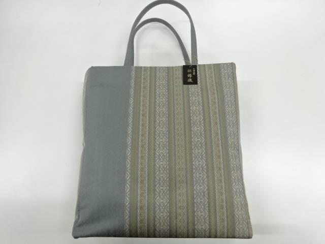 西陣せがわ 経錦織献上縞模様織出しあおり型バッグ【新品】