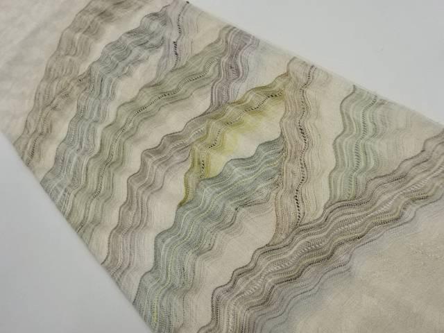 紗紬銀通し遠山模様織り出し袋帯【リサイクル】【中古】