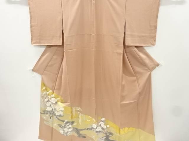 金彩手描き牡丹に芒模様刺繍一つ紋色留袖【リサイクル】【中古】