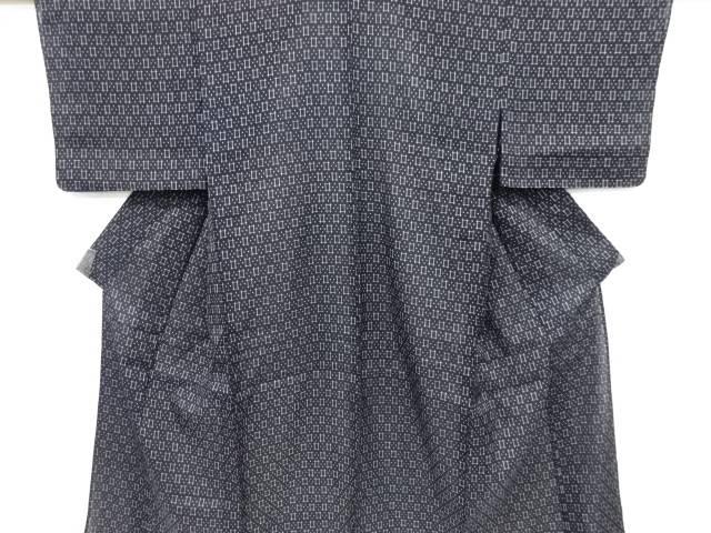 本場夏結城紬斜め格子に井桁絣柄織り出し着物【リサイクル】【中古】