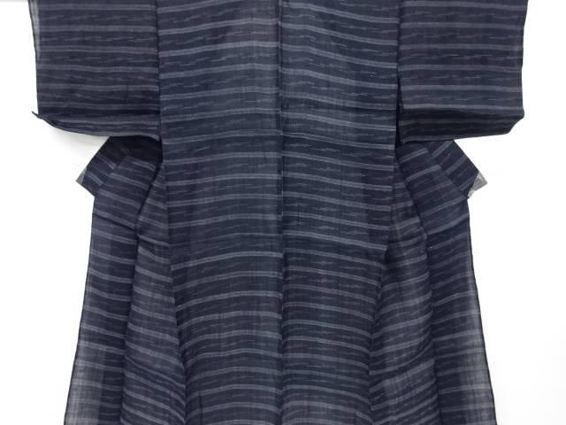 本場宮古上布横段模様織り出し着物【アンティーク】【中古】