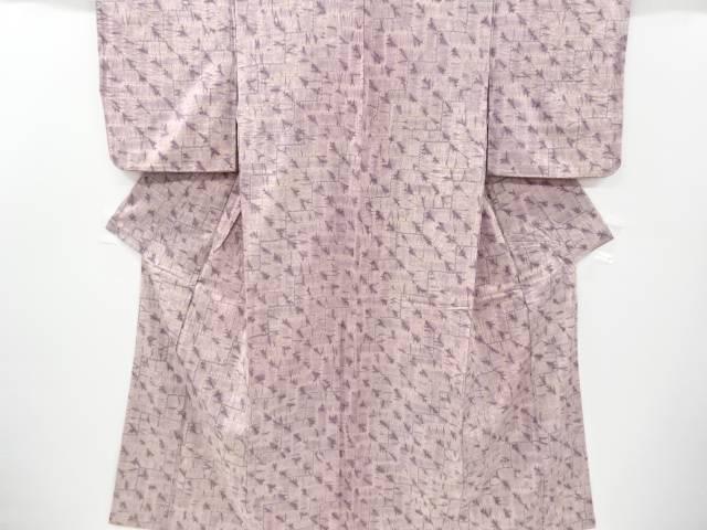 草木染絞り幾何学模様手織り真綿紬着物【リサイクル】【中古】