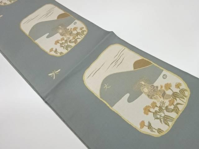 未使用品 大文字山に花人物模様織出し洒落袋帯【リサイクル】【中古】