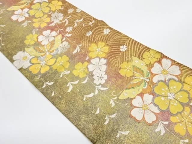 花に蝶模様織出し袋帯【リサイクル】【中古】