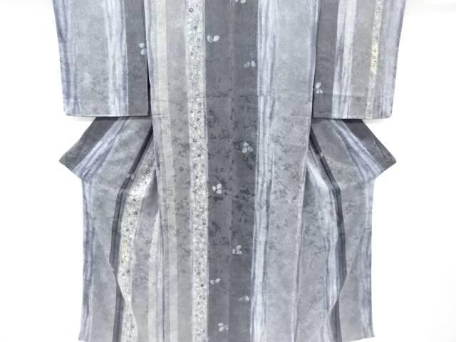 未使用品 仕立て上がり 山田昇司作 絞りふくれ織短冊に枝花模様刺繍訪問着