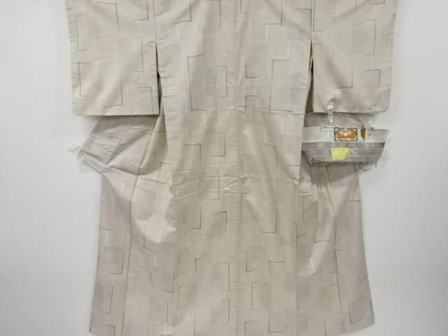 抽象模様織り出し本場白大島紬着物(7マルキ)【リサイクル】【中古】