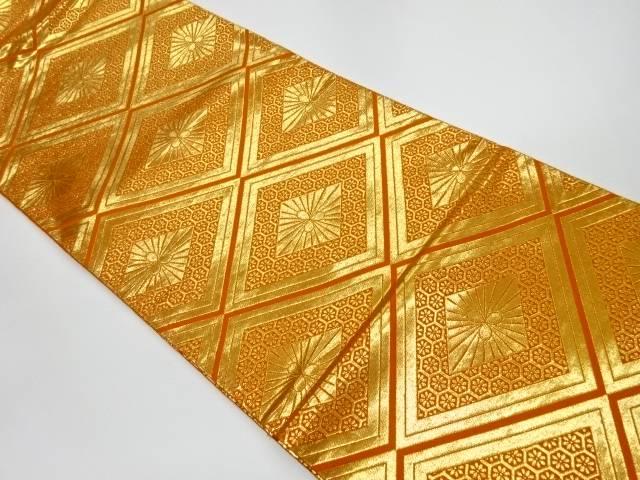 本金箔24K菱模様織出し袋帯【リサイクル】【中古】