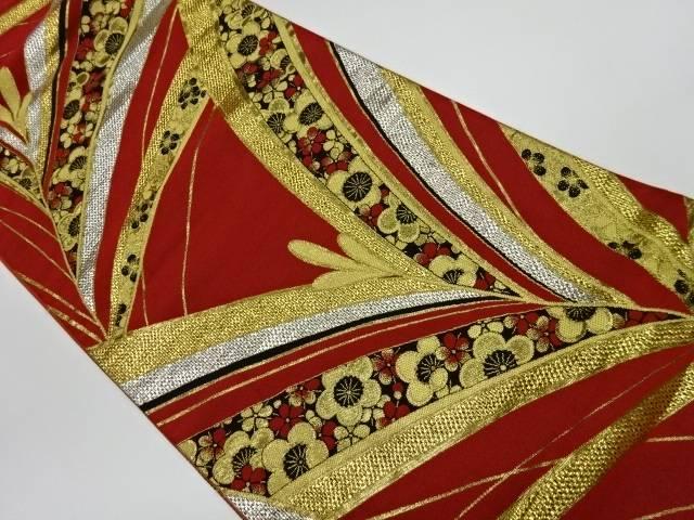 抽象に梅模様織出し振袖用袋帯【リサイクル】【中古】