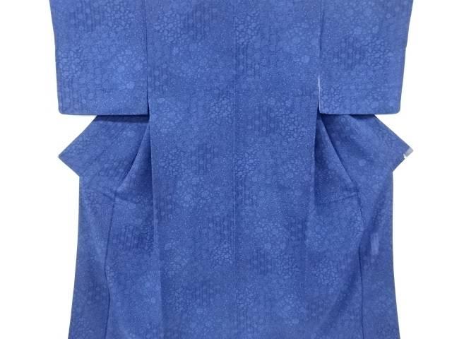 香川卓美作 縮緬地本藍型染唐草模様小紋着物【リサイクル】【中古】