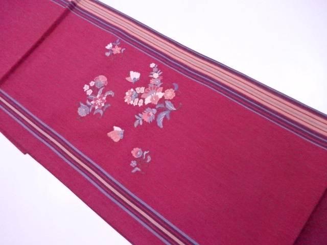 未使用  袋帯 未仕立て 聚楽 刺繍 縞に蝶花文【リサイクル】【中古】
