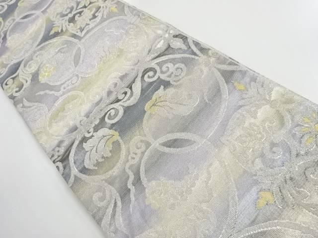 金銀糸華紋に葡萄唐草模様織出し袋帯【リサイクル】【中古】