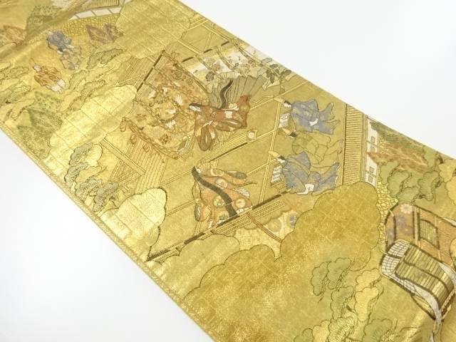 本金箔時代人物風景模様織出し袋帯【リサイクル】【中古】